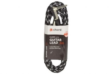 Chord Classic Retro Braided 3M Right Angled Guitar Lead Black/White